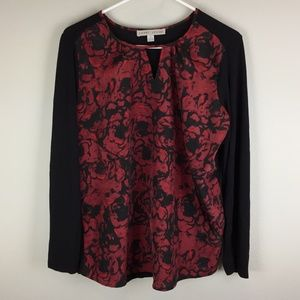 Larry Levine Top Size Medium Roses Red Black